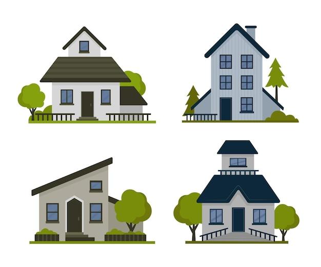 Packung mit bunten verschiedenen häusern Kostenlosen Vektoren
