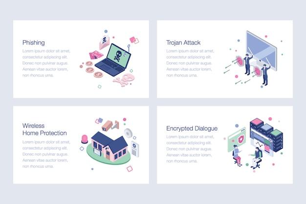 Packung mit cyber security-abbildungen Premium Vektoren