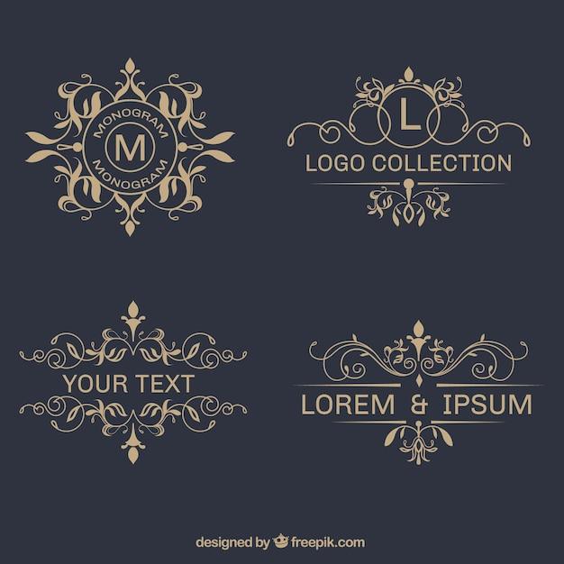 Packung mit eleganten Zier Logos Kostenlose Vektoren