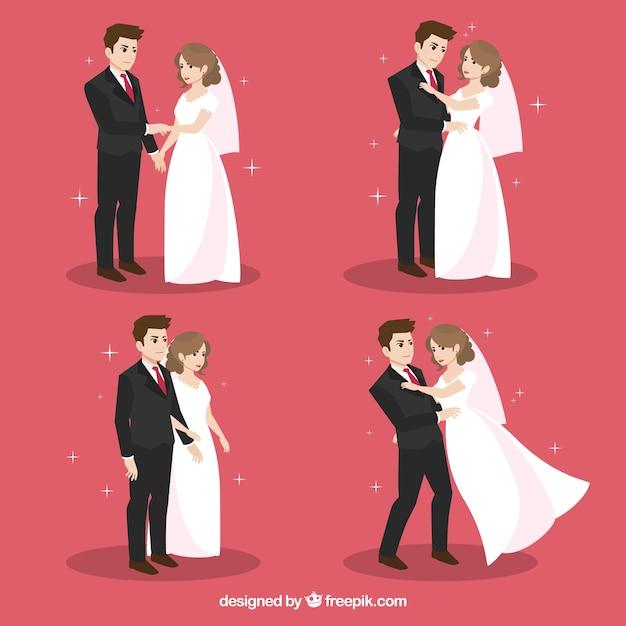 Packung mit flachen newlyweds in verschiedenen aktionen Premium Vektoren