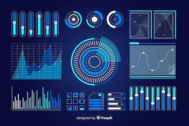 Packung mit futuristischen infografik-elementen Kostenlosen Vektoren