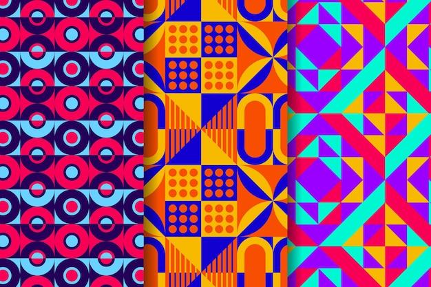 Packung mit geometrisch gezeichneten mustern Premium Vektoren