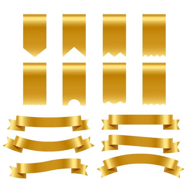Packung mit goldenen bändern und etiketten Kostenlosen Vektoren