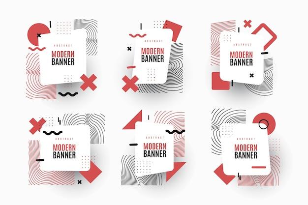 Packung mit grafikdesign-etiketten im geometrischen stil Kostenlosen Vektoren