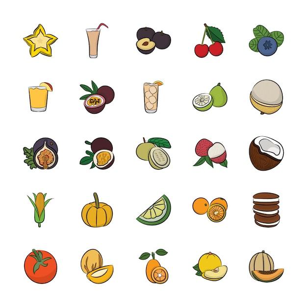 Packung mit handgezeichneten food icons Premium Vektoren