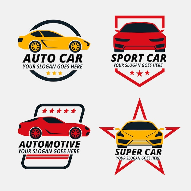 Packung mit illustrierten auto-logos Kostenlosen Vektoren
