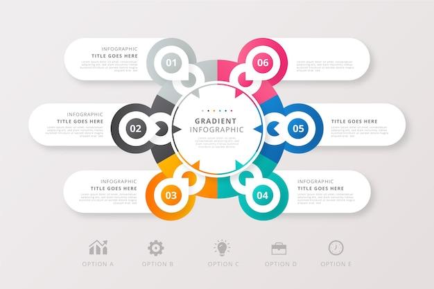 Packung mit infografiken im verlaufsstil Kostenlosen Vektoren