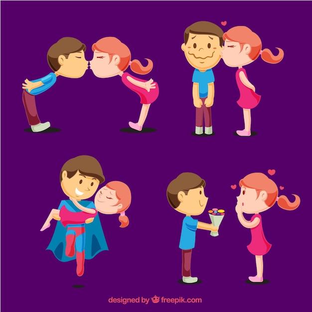 Packung mit jungen liebhaber in verschiedenen romantischen momente Kostenlosen Vektoren