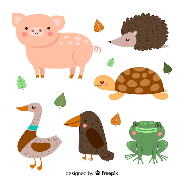 Packung mit niedlichen illustrierten tieren Kostenlosen Vektoren