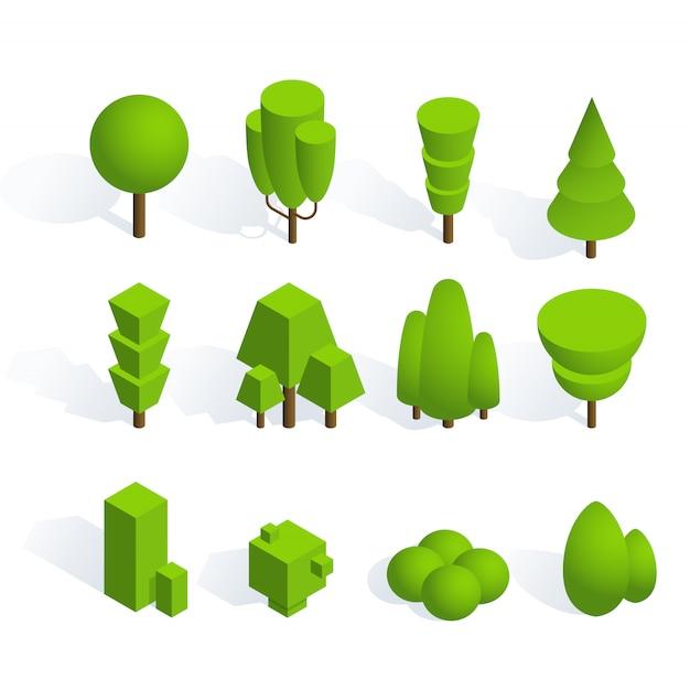 Packung mit pflanzen und bäumen in isometrischer ausführung Premium Vektoren