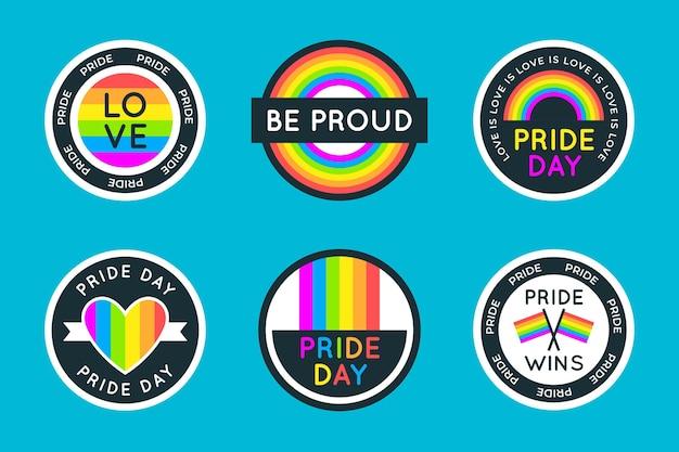 Packung mit pride day-etiketten Kostenlosen Vektoren