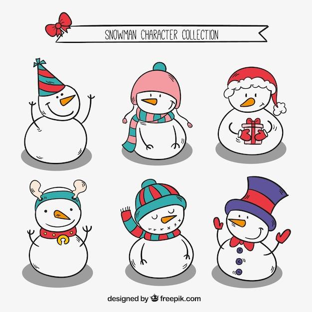 Packung mit schneemänner skizzen mit weihnachten elemente Kostenlosen Vektoren