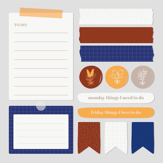 Packung mit schönen planer-sammelalbum-elementen Kostenlosen Vektoren