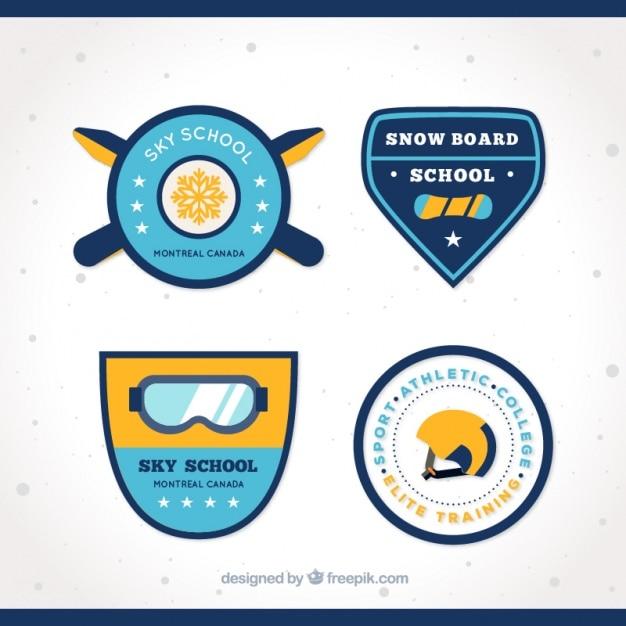 Packung mit skischule abzeichen Kostenlosen Vektoren