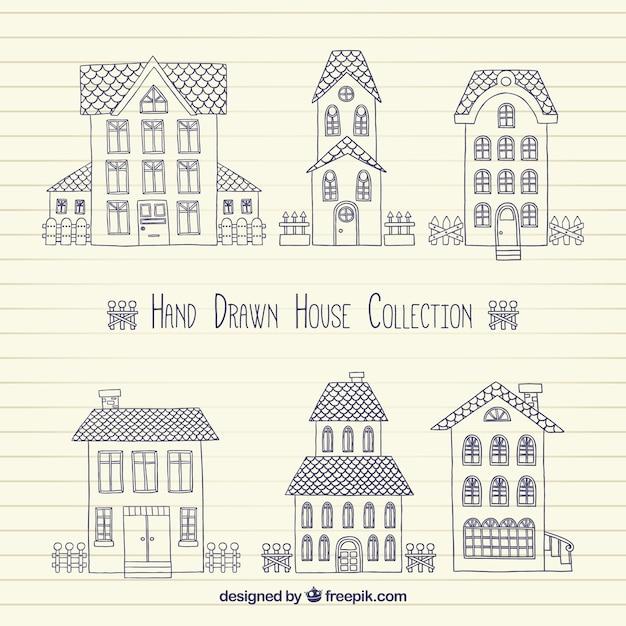 Packung Mit Skizzen Von Hausern Im Vintage Stil Download