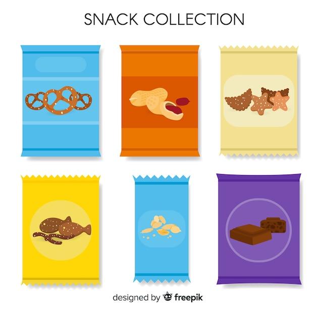 Packung mit snacks in flachen stil Kostenlosen Vektoren