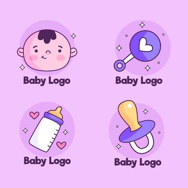 Packung mit süßen baby-logos Kostenlosen Vektoren