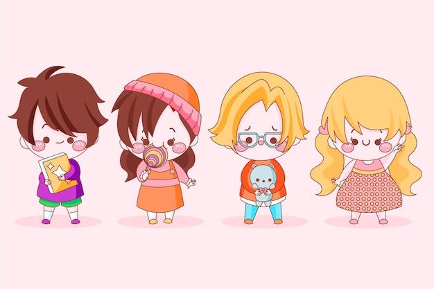 Packung mit süßen japanischen kindern Kostenlosen Vektoren