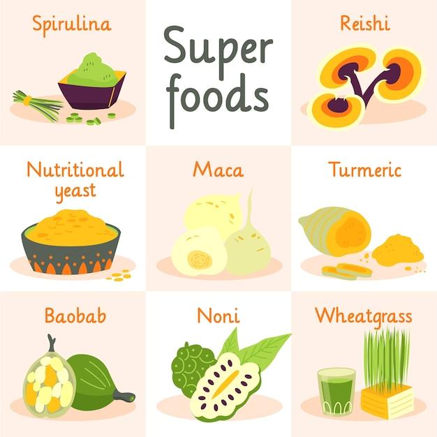 Packung mit superfood-illustrationen Kostenlosen Vektoren