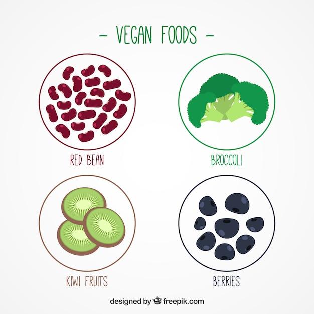 Packung mit veganen zutaten Kostenlosen Vektoren