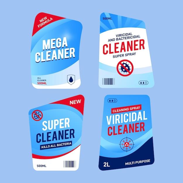 Packung mit verschiedenen etiketten für virizide und bakterizide reiniger Kostenlosen Vektoren