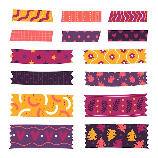 Packung mit verschiedenen gezeichneten washi-bändern Kostenlosen Vektoren