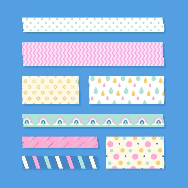Packung mit verschiedenfarbigen flachen washi-bändern Kostenlosen Vektoren
