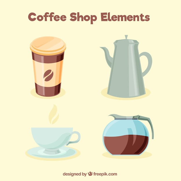 Packung mit vier kaffee elemente Kostenlosen Vektoren
