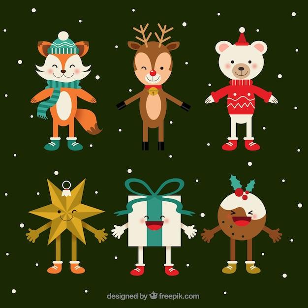 Packung Mit Weihnachten Zeichen In Flaches Design L Chelnd