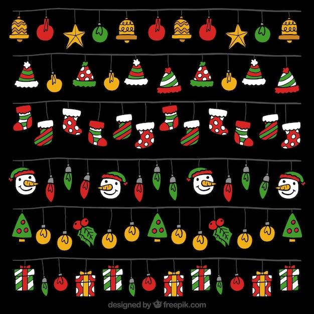 Packung mit weihnachtsbeleuchtung mit bunten elementen Kostenlosen Vektoren