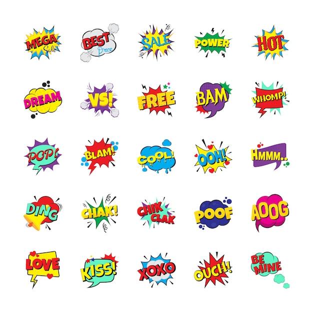 Packung pop art emotion bubbles Premium Vektoren