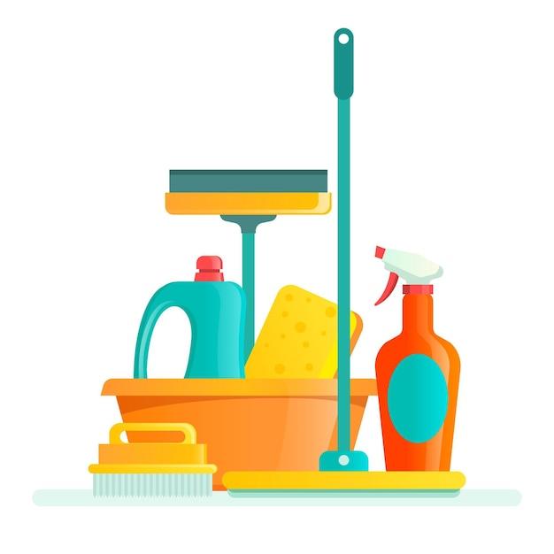 Packung reinigungsausrüstung Kostenlosen Vektoren