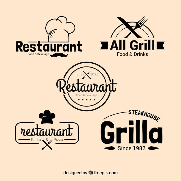 Packung Restaurant-Logos im Vintage-Design Kostenlose Vektoren