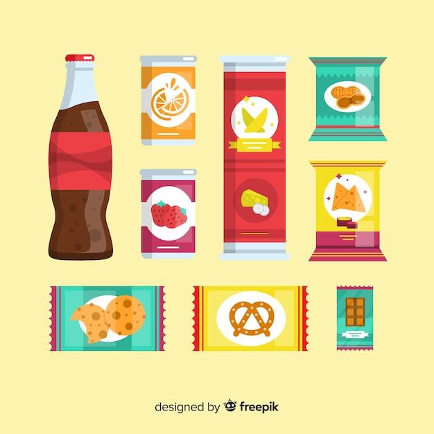 Packung snacks im flachen design Kostenlosen Vektoren