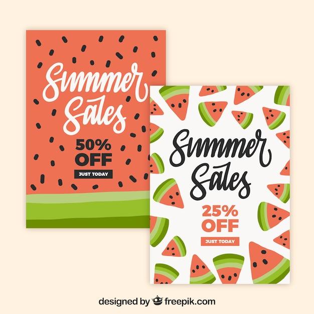 Packung sommer verkauf karten mit wassermelonen Kostenlosen Vektoren