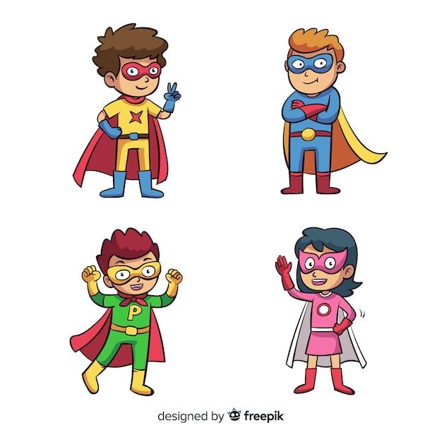Packung superhelden-kinder Kostenlosen Vektoren