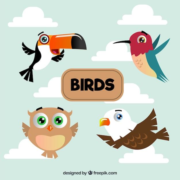 Packung von flachen vögeln fliegen Kostenlosen Vektoren