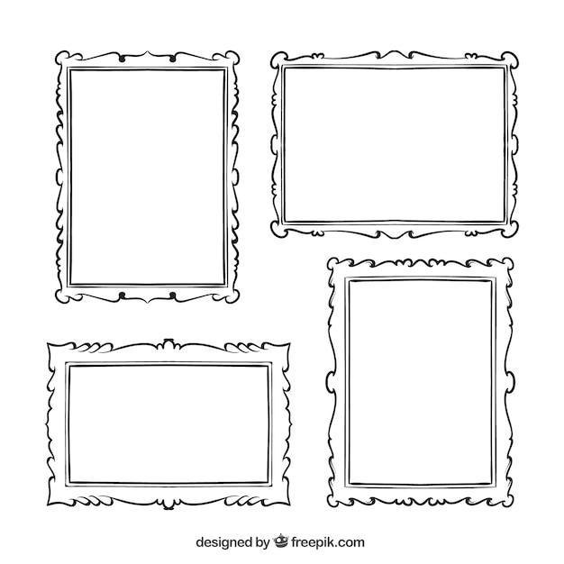 packung von hand gezeichnet dekorativen bilderrahmen vintage frame clipart free download vintage frame clipart free