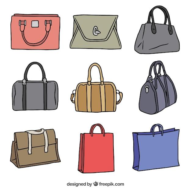 packung von hand gezeichnet handtaschen mit verschiedenen farben download der kostenlosen vektor. Black Bedroom Furniture Sets. Home Design Ideas