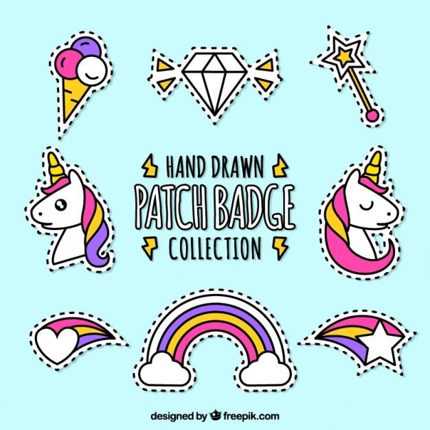 Packung von hand gezeichnet patches märchen Kostenlosen Vektoren