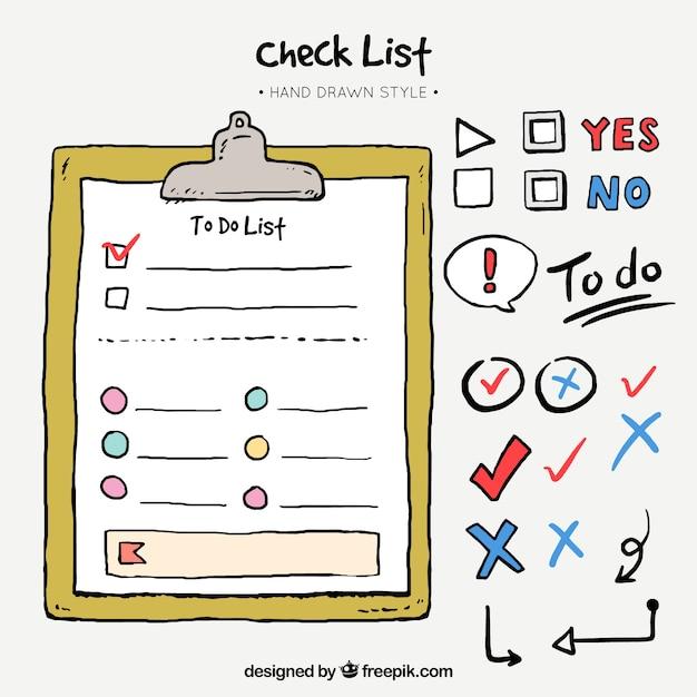 Packung von hand gezeichnete elemente für checklisten Kostenlosen Vektoren