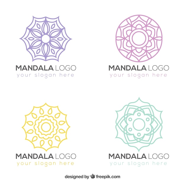 packung von hand gezeichneten mandalas logos download. Black Bedroom Furniture Sets. Home Design Ideas