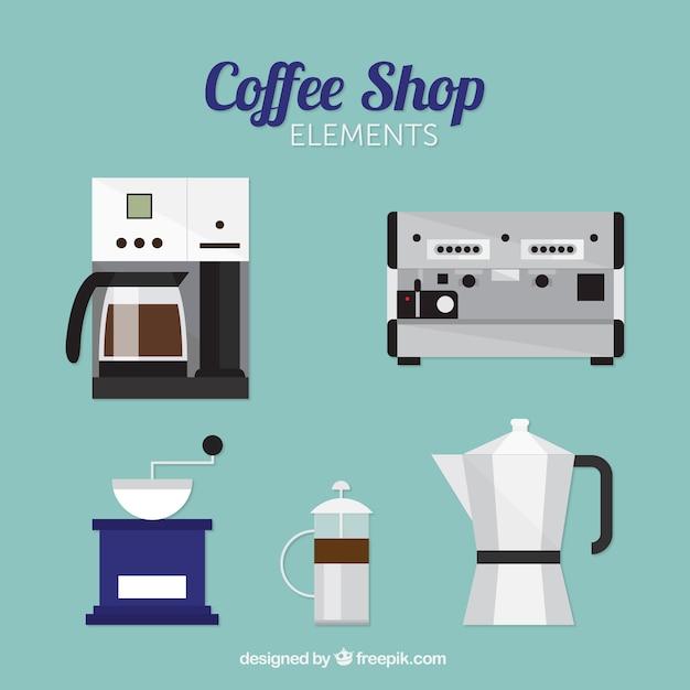 Packung von kaffeemaschinen in flaches design Kostenlosen Vektoren