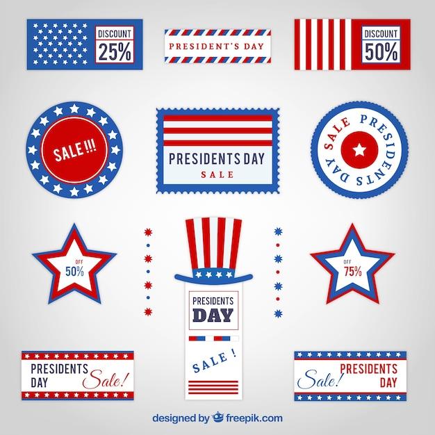 Packung von präsidententag verkauf-banner Kostenlosen Vektoren