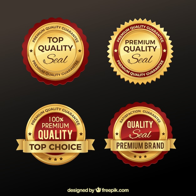 Packung von premium-goldenen aufklebern Kostenlosen Vektoren