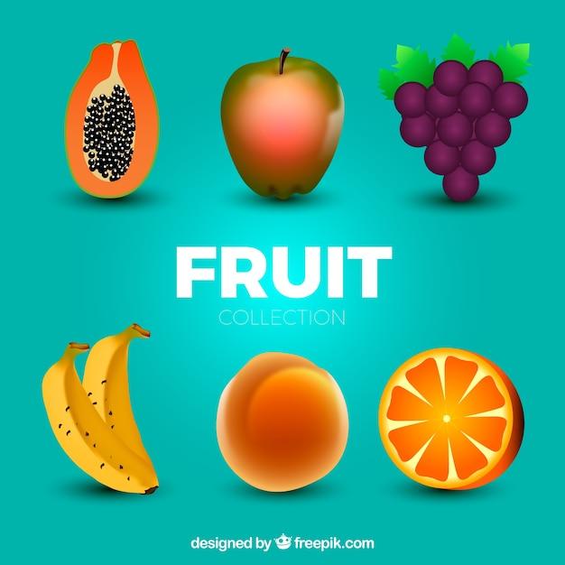 Packung von sechs realistischen früchten Kostenlosen Vektoren