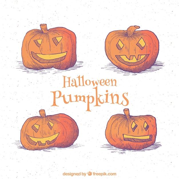 Packung von vier Hand gezeichnet Halloween Kürbisse | Download der ...