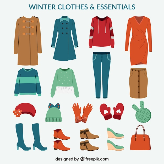 Packung winterkleidung und notwendigkeiten Kostenlosen Vektoren