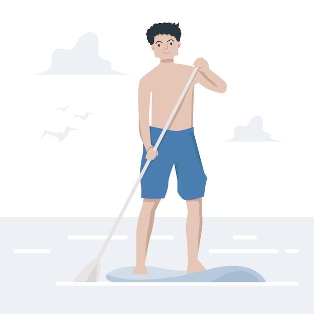 Paddle board guy Premium Vektoren