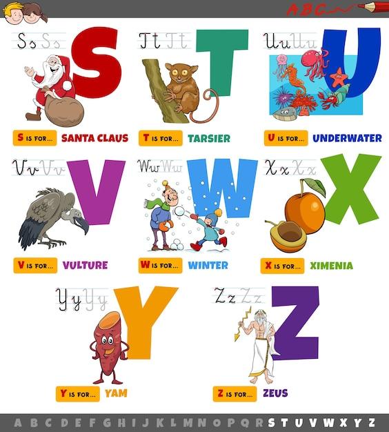 Pädagogische cartoon alphabet buchstaben von s bis z gesetzt Premium Vektoren